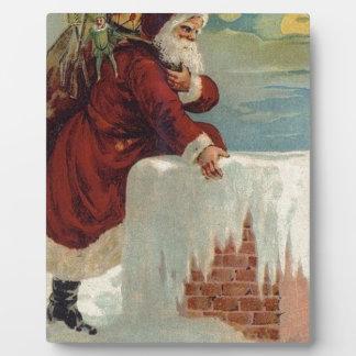Christmas -  Santa Coming Down the Chimney Plaque