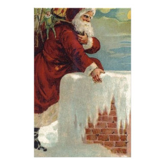 Christmas -  Santa Coming Down the Chimney Stationery
