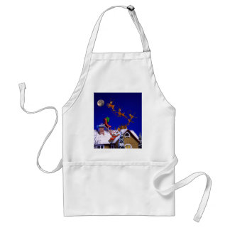 Christmas - Santa crashed on the rooftop Adult Apron