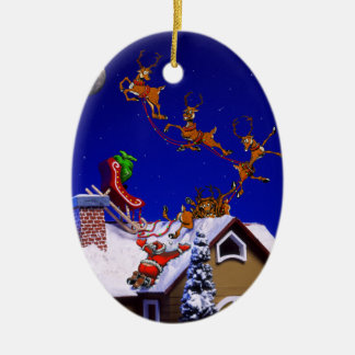 Christmas - Santa crashed on the rooftop Double-Sided Oval Ceramic Christmas Ornament