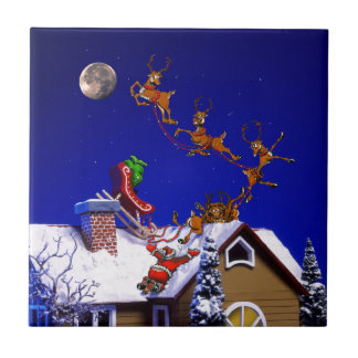 Christmas - Santa crashed on the rooftop Small Square Tile