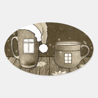 Christmas Santa Digital Art Winter Snow Destiny Oval Stickers