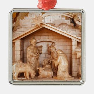 Christmas Santa Faith Love Peace Office Destiny Square Metal Christmas Ornament