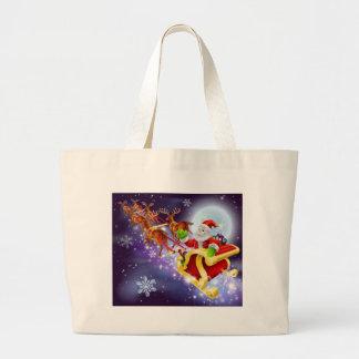 Christmas Santa flying in his sled or sleigh Canvas Bag