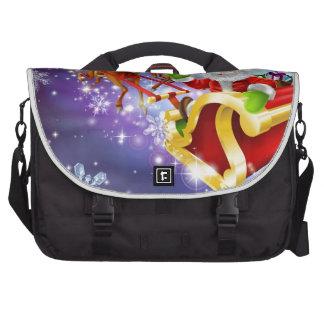 Christmas Santa flying in his sled or sleigh Commuter Bag