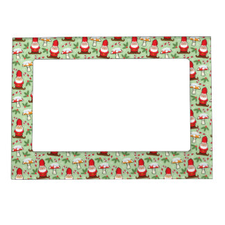 Christmas Santa Gnomes Design Magnetic Picture Frame