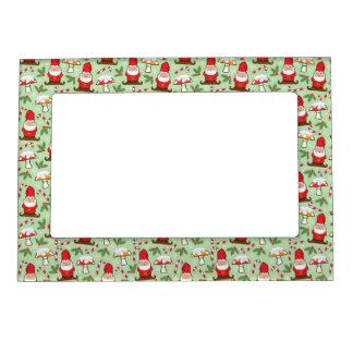 Christmas Santa Gnomes Design Magnetic Picture Frame