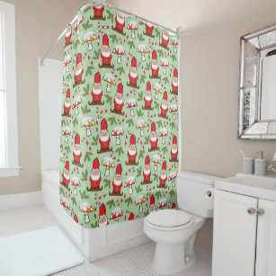 Christmas Santa Gnomes Design Shower Curtain