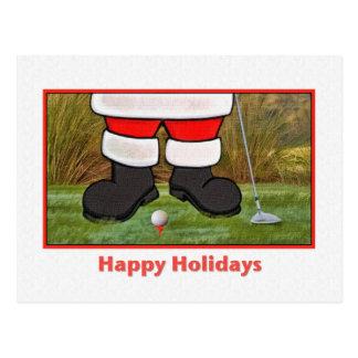 Christmas, Santa Golfer, Postcard