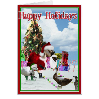 Christmas Santa Goose And Ducks Greeting Cards