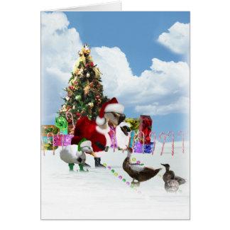 Christmas Santa Goose And Ducks Card