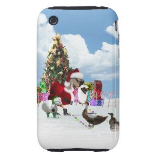Christmas Santa Goose And Ducks Tough iPhone 3 Cases