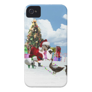 Christmas Santa Goose And Ducks iPhone 4 Cases