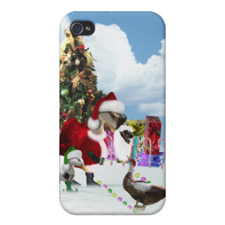 Christmas Santa Goose And Ducks iPhone 4 Covers