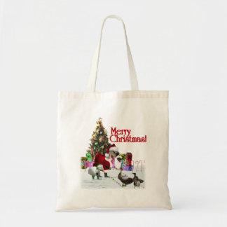 Christmas Santa Goose And Ducks Tote Bag