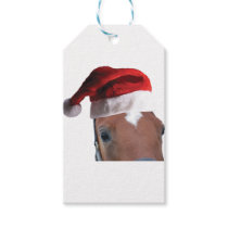 Christmas Santa Hat Horse Gift Tags