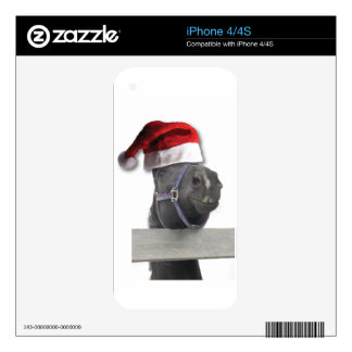 Christmas Santa Hat Horse Skin For iPhone 4