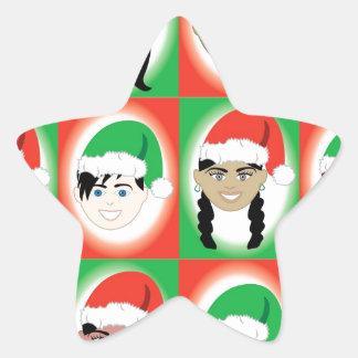 Christmas Santa Hat Kids Star Sticker