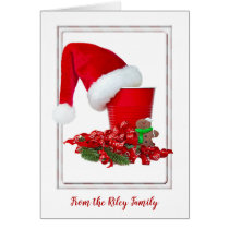 Christmas Santa hat on red party cup Card