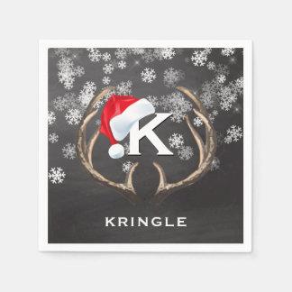 Christmas Santa Hat Snowflakes Antlers Chalkboard Napkin