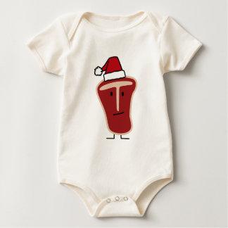Christmas Santa Hat T-Bone Steak meat protein Baby Bodysuit