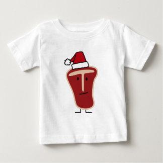 Christmas Santa Hat T-Bone Steak meat protein Baby T-Shirt