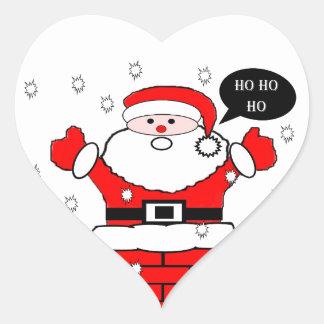 Christmas Santa Ho Ho Ho Heart Sticker