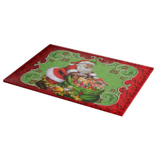 Christmas Santa Holiday glass cutting board