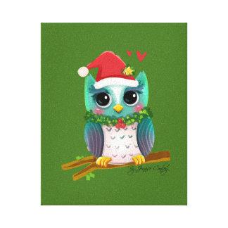 Christmas Santa Holiday Owl Mistletoe Cute Canvas Print