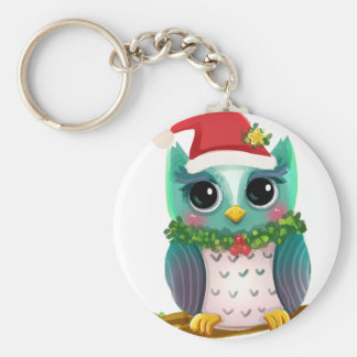 Christmas Santa Holiday Owl Mistletoe Cute Keychain