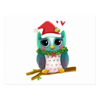 Christmas Santa Holiday Owl Mistletoe Cute Postcard