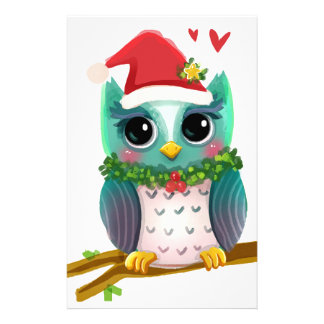 Christmas Santa Holiday Owl Mistletoe Cute Stationery