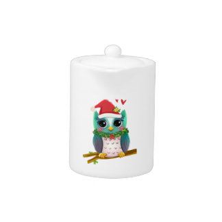Christmas Santa Holiday Owl Mistletoe Cute Teapot
