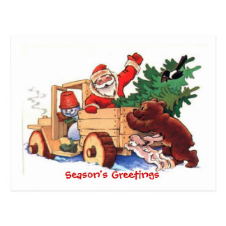 Christmas Santa in a Pick-up pushed by a bear Post Cards