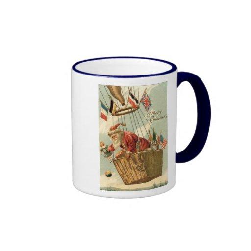 Christmas Santa in Hot Air Balloon Ringer Coffee Mug
