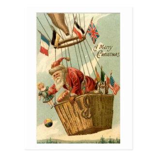 Christmas Santa in Hot Air Balloon Postcard