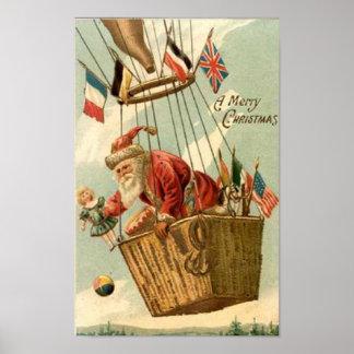 Christmas Santa in Hot Air Balloon Print