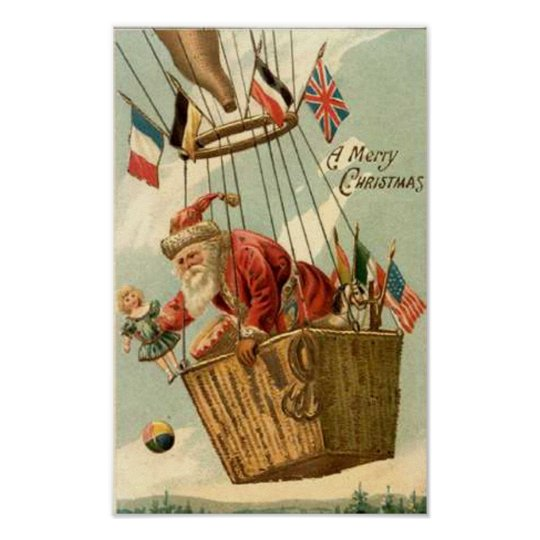 Christmas Santa in Hot Air Balloon Poster