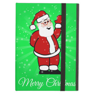 Christmas Santa in Red Suit Green Background Snow Case For iPad Air