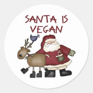 Christmas Santa Is Vegan Classic Round Sticker