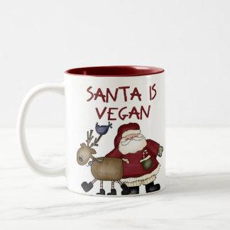 Christmas Santa Is Vegan Two-Tone Coffee Mug