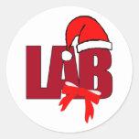 CHRISTMAS SANTA LABORATORY ROUND STICKERS