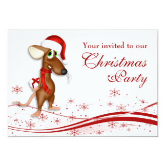 Christmas Santa Mouse Company Christmas Party Card