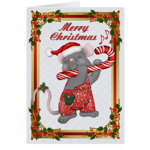 Christmas Santa Mouse Tunes Greeting Cards