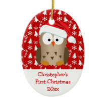 Christmas Santa Owl Personalized Kids/Baby/First Ceramic Ornament