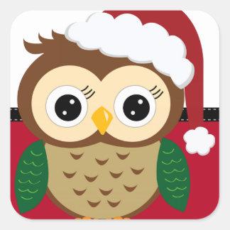 Christmas Santa Owl Square Sticker