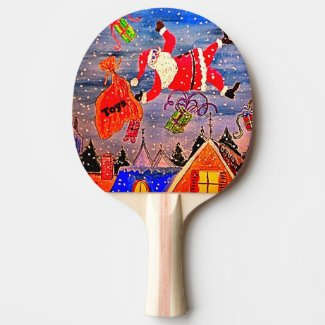 Christmas Santa Ping Pong Paddle