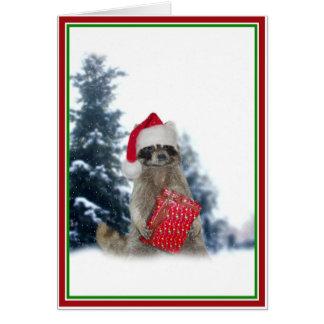 Christmas Santa Raccoon Bandit Card