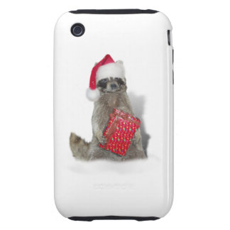 Christmas Santa Raccoon Bandit Tough iPhone 3 Covers