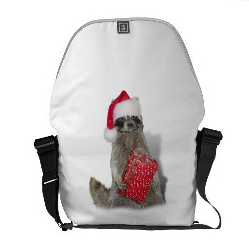 Christmas Santa Raccoon Bandit Courier Bag